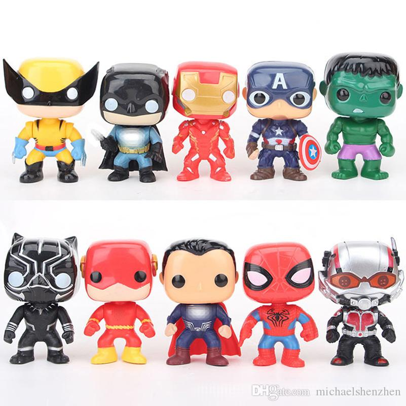 10 Art Rächer POP-Abbildung Puppe Spielzeug Neue Kinder Superheld Cartoon Captain America Iron Man spiderman Wolverine Ant Man Figur Toy C