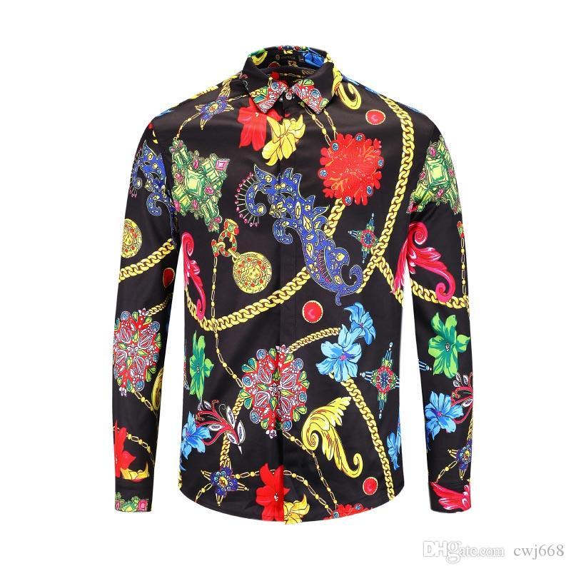 Nuevos productos flor de los hombres de la camisa ocasional 2018 impresión en color delgado medusa camisa de seda asiática Código de manga larga libre del envío M-2XL
