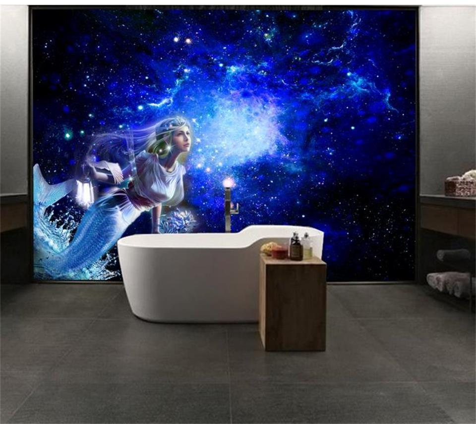 Taille personnalisée 3D Photo Papier Peint Salon Murale Rêve Étoile Sirène 3d Image Canapé TV Toile de Fond Décor À La Maison Creative Hôtel Étude Papier Peint