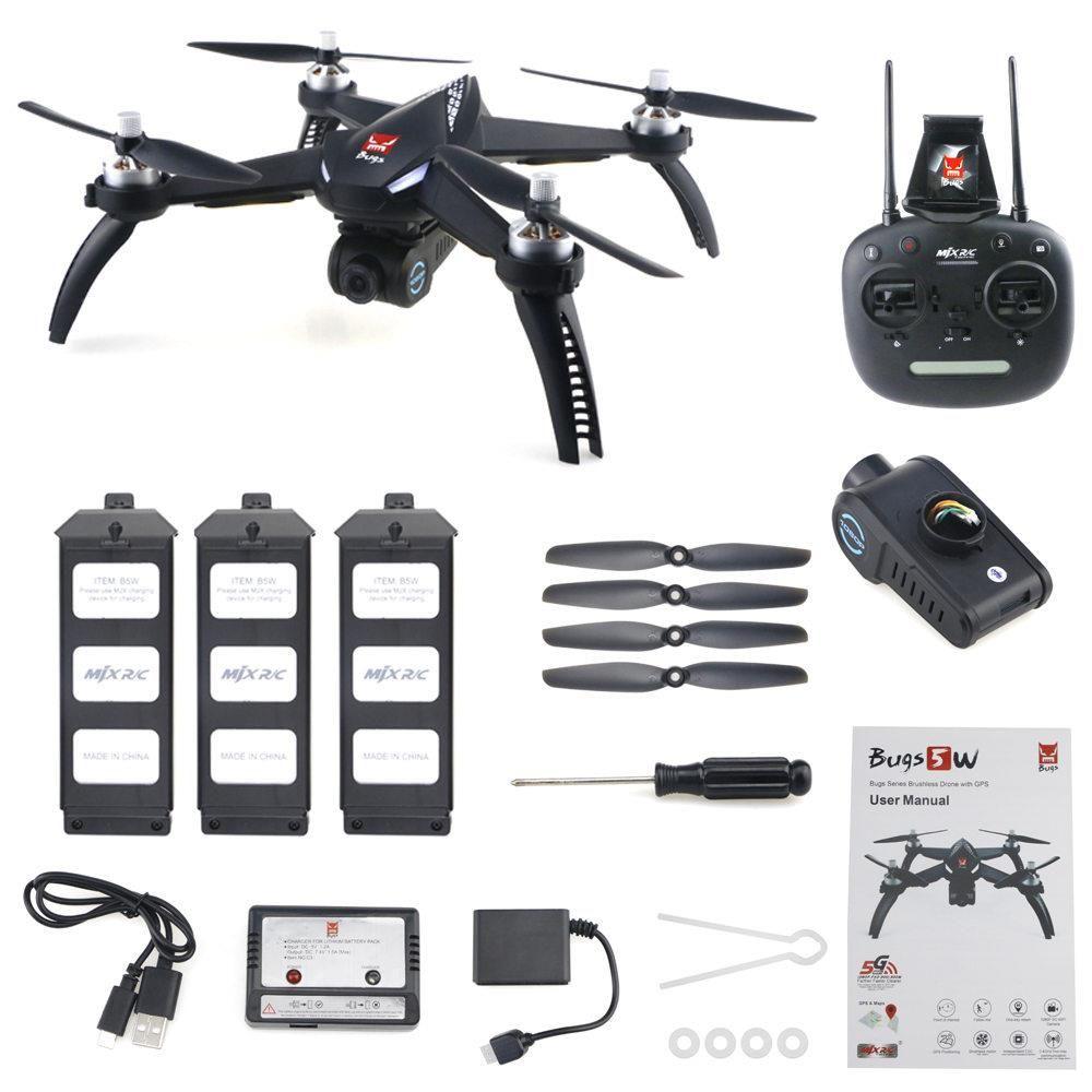 MJX Bugs Tek Eksenli Gimble GPS Takip Me Modu RTF ile 5 W B5W 1080P FHD 5G WiFi FPV RC Quadcopter - Üç Piller
