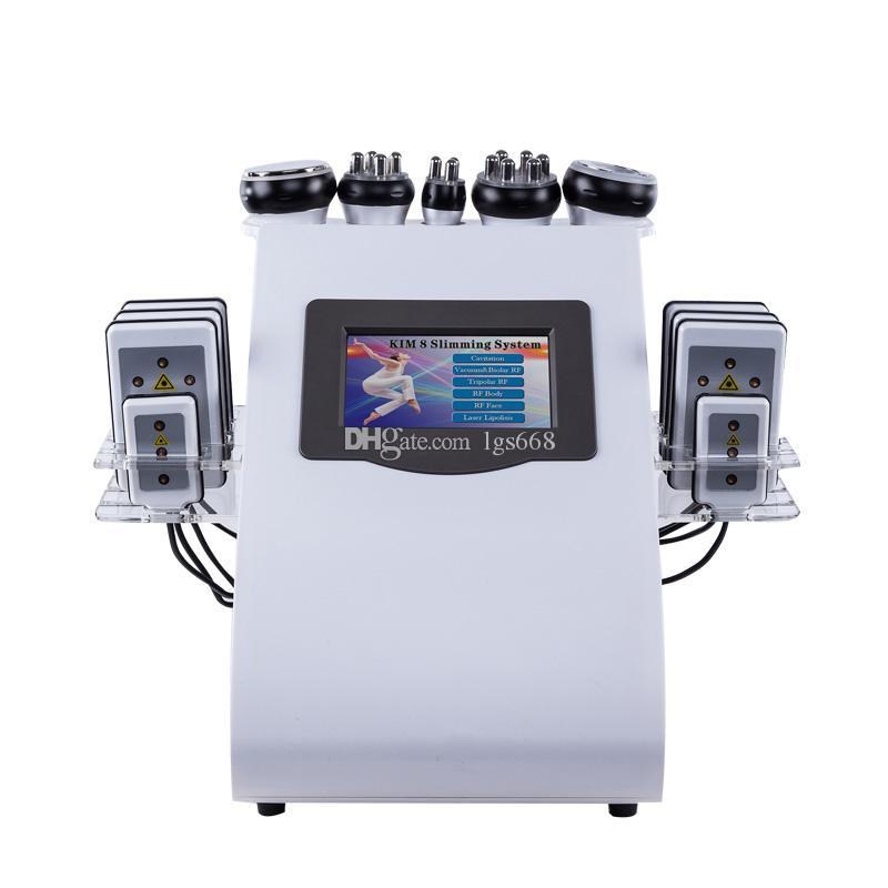 أدنى 2 ألوان 6in1 40K بالموجات فوق الصوتية شفط الدهون التجويف 8 منصات lllt ليبو الليزر التخسيس آلة فراغ rf العناية بالبشرة صالون سبا معدات