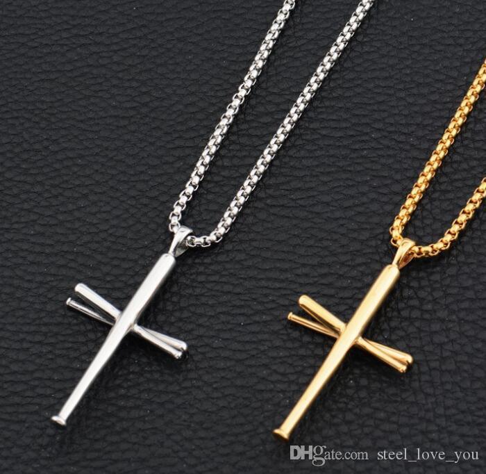 Человек панк ожерелье мужской прохладный крест ожерелье колье ссылка серебряный золотой цвет нержавеющей стали крест очарование ювелирных изделий кулон