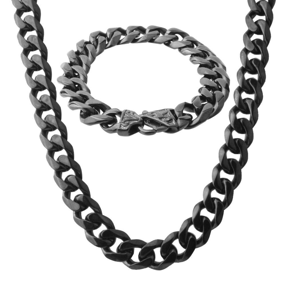 """Coole neue 316L Edelstahl Schwarz Ton Kubanischen Curb Gliederkette herren Halskette 23,6 """"Armband Bangle 8,66"""" Sets Mode"""