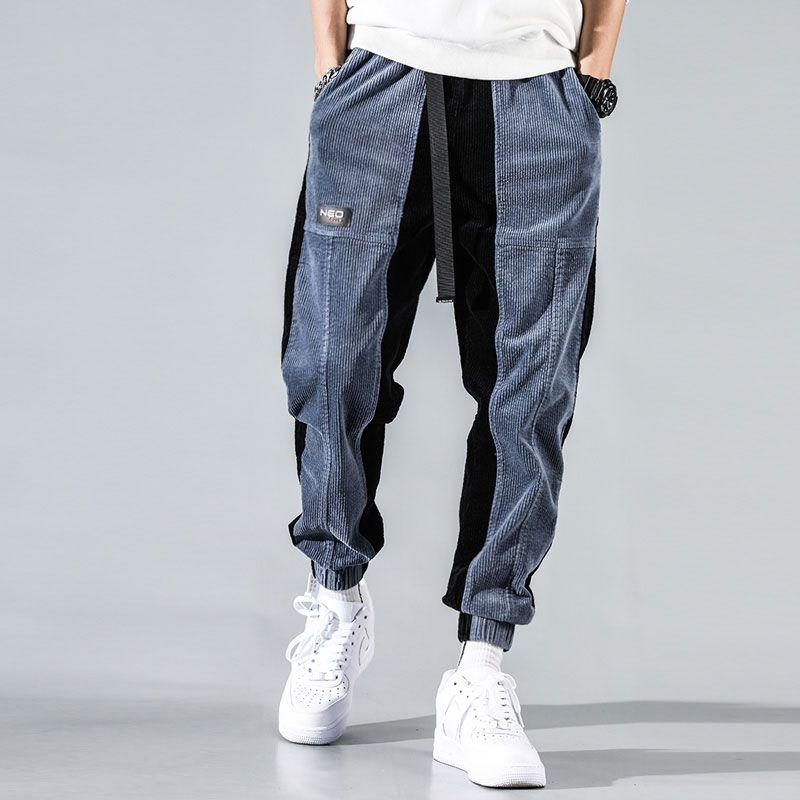 Fashion Streetwear Men Jeans Loose Fit Spliced Casual Corduroy Cargo Pants Harem Trousers Japanese Hip Hop Jogger Pants