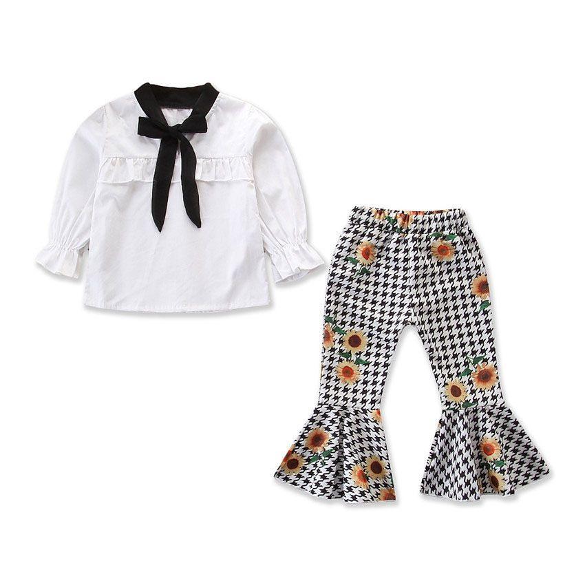 Trajes para niñas de moda Primavera Otoño Camisa blanca de manga larga + Pantalones con capucha-parte inferior Conjuntos para niños Traje para niños Ropa para niños Ropa para niños Z11