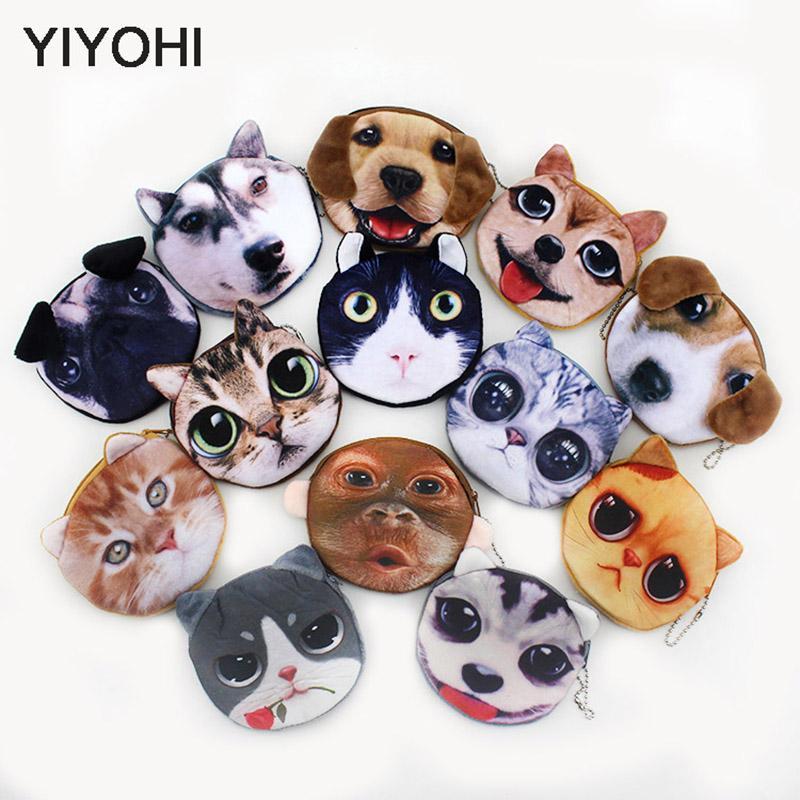20 Stilleri Yeni 3D baskı Kedi / Köpek Yüz Fermuar Durumda Çocuk Sikke çanta Bayan Sevimli Cüzdan Kılıfı Kadınlar Kız Makyaj Buggy Çantası
