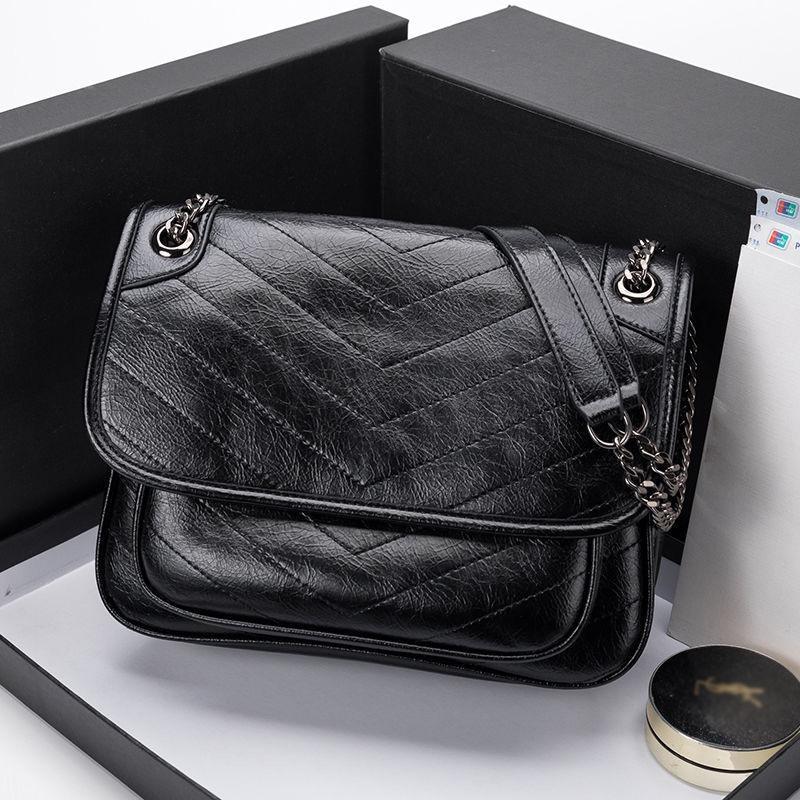 Bolsos de las mujeres del bolso del diseñador de lujo más nuevo estilo famosa de la manera de las mujeres bolsos de cadena de cuero genuino bolso de las mujeres del bolso de hombro 40718