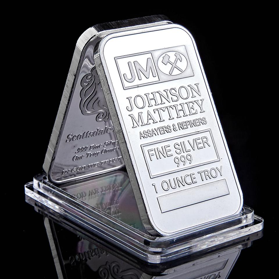 JM Johnson Matthey 1Oz Silver Plated 50 X 28 Mm Bullion Coin Decoration Bar With Serial Number