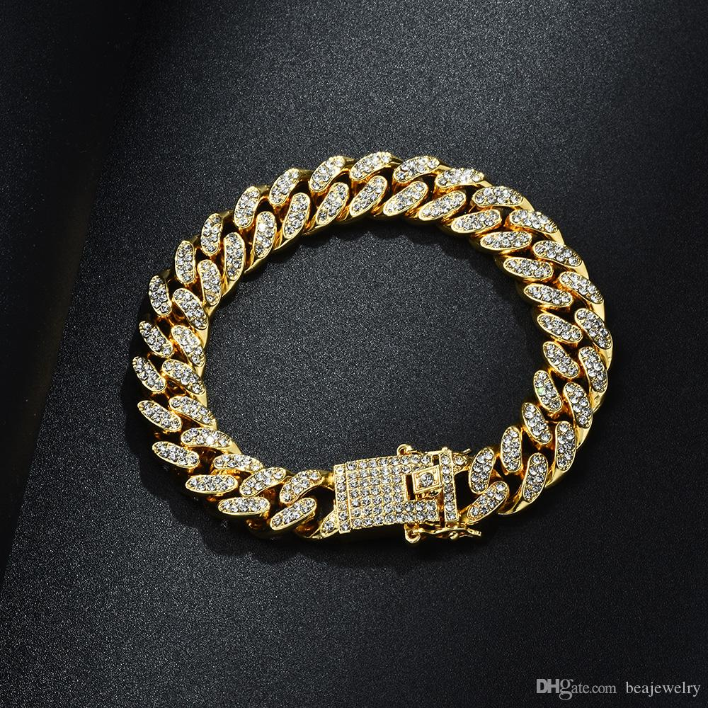 13mm 6/7/8/9/10inch HipHop Gold Silver Rosegold Simulated Iced Out Miami Cuban Link Chain Bracelet