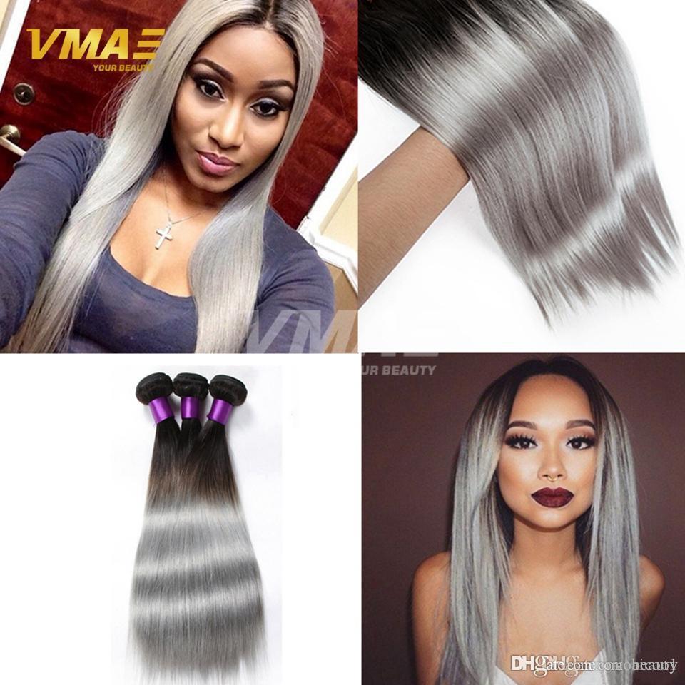 VM Malásia cabelo Ombre Hetero Natural Black / Silver Grey 3Pcs Lot Virgin VMAE Grey extensões do cabelo humano Weave onda do corpo 3 cabelo Pacotes