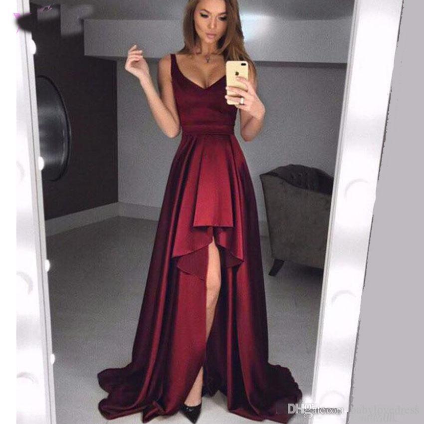 Compre Robe De Vestidos De Noche 2019 Nuevos Vestidos De Fiesta De Cóctel Satinado Sencillo Barato Largo De Noche Sexy Borgoña Alto Bajo Vestidos De