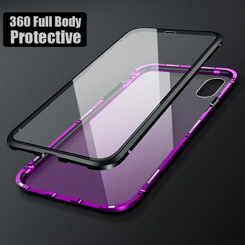 Роскошный 360 всего тела магнитный прозрачный коке, чехол для iPhone XS Max X 8 7 Plus 8Plus iPhonex роскошный прозрачный стеклянный чехол