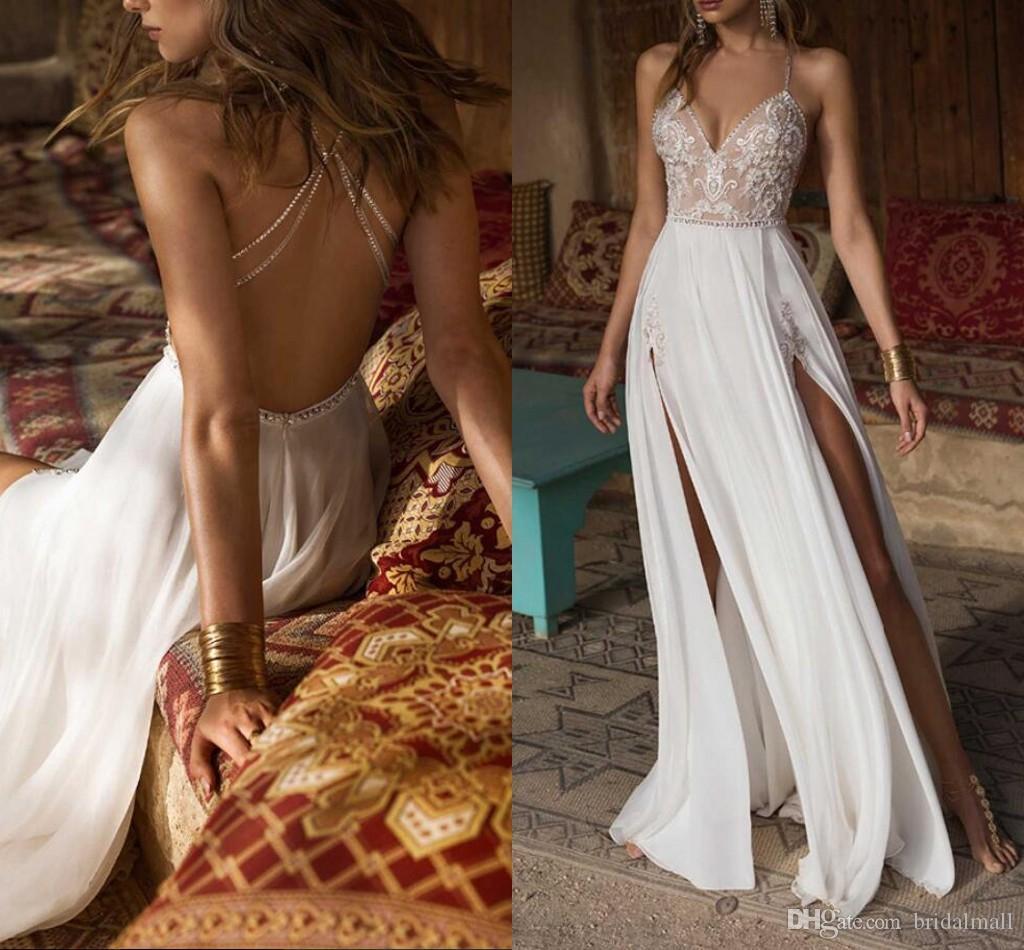 Spaghetti-Trägern Boho Brautkleider Sexy Seiten-Schlitz-Brautkleid mit V-Ausschnitt Braut Kleid wulstige Kristalle Jäten Kleider Vestido De Noiva