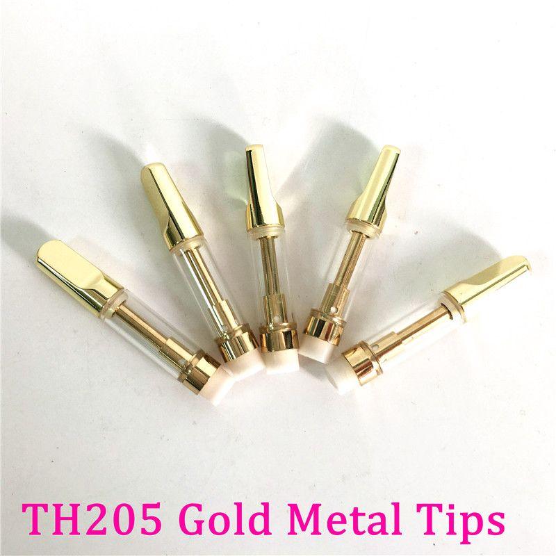 Gold Vape Cartridges Pyrex Vetro carrello TH205 Serbatoio 510 filettatura ceramica bobine in ceramica color oro di colore metallo Bocchini di aspirazione tacolato 2,0 mm Atomizzatori olio spessa