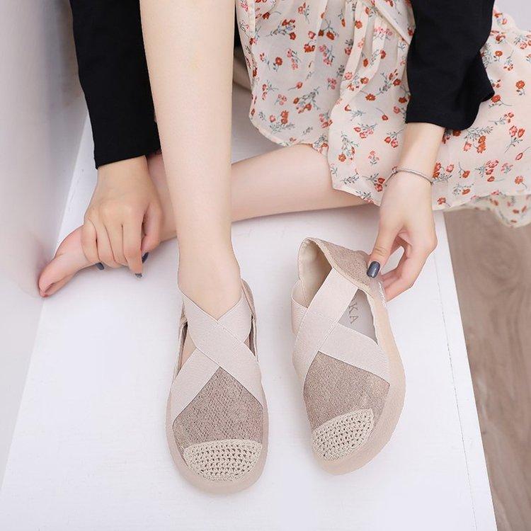 Shallow las zapatillas de deporte de las señoras AARDIMI Banda elástica Pisos de remiendo de las mujeres zapatos de las sandalias de las mujeres de la cubierta del talón de los zapatos de deportes femenino Diapositivas