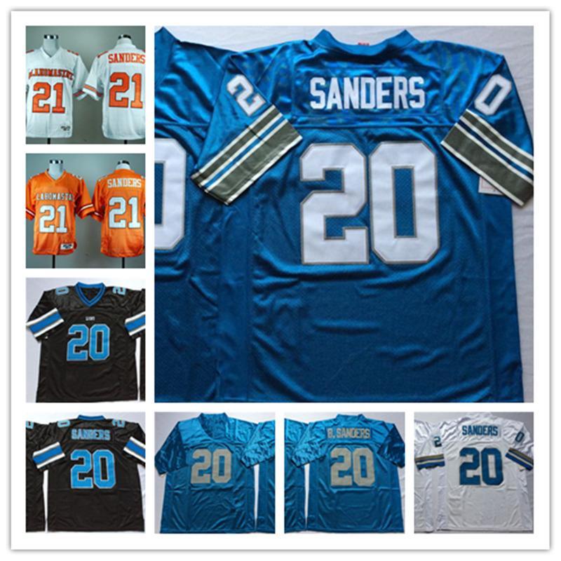 Der NCAA-Weinlese # 21 der Männer Barry Sanders Oklahoma State Cowboys Jersey nähte # 20 Barry Sanders Detroit-Fußball Jersey S-3XL