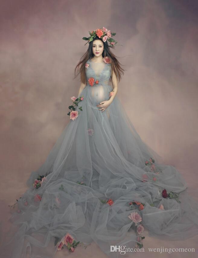 사진 촬영을위한 출산 복장 출산 사진 소품 섹시한 메쉬 출산 복장 사진 촬영을위한 배낭