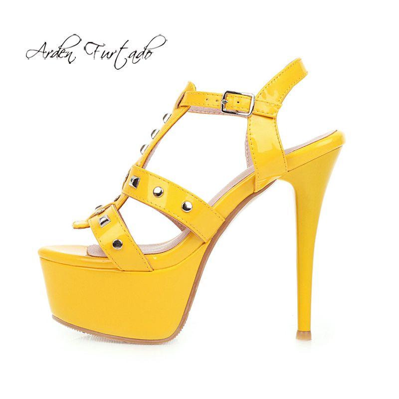 Arden Furtado 2020 Summer Fashion zapatos de mujer tacones tacones sexy elegante y amarillo verde silbersandals plataforma zapatos de fiesta 41