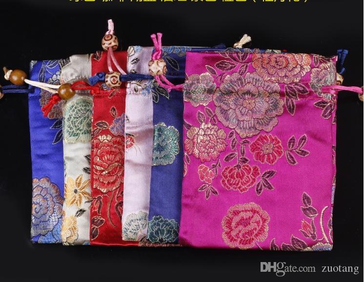 Jacquard Chrysanthème Pivoine damas sacs-cadeaux chinois Drawstring brocart de soie Petite pochette bijoux pochette de rangement en tissu Emballage Sacs 2pcs