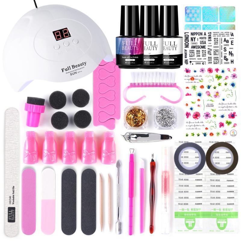 Nail Art Set 60 colores de uñas del gel de la lámpara UV LED para la manicura Herramientas Soak Off Gel de barniz acrílico Art Pen Brush Kit LA1570