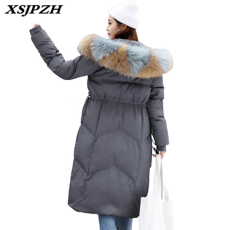 XSJPZH 2018 nuevo de las mujeres de invierno pato abajo cubren la manera de Grasa Mm con fertilizante XL Chaqueta real Escorpión cuello de piel con capucha exterior SH164