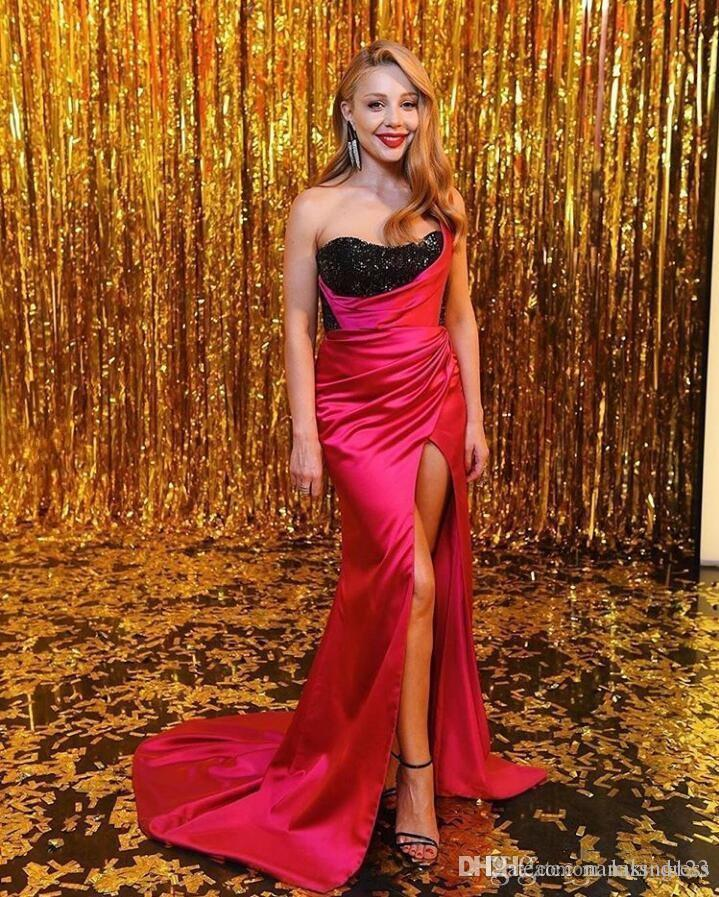 Sexy Black and Red Prom Dresses New Design Sweetheart Court Train Bling Bling High Split Sheath Formal Evening Party Gowns Robe De Mariee
