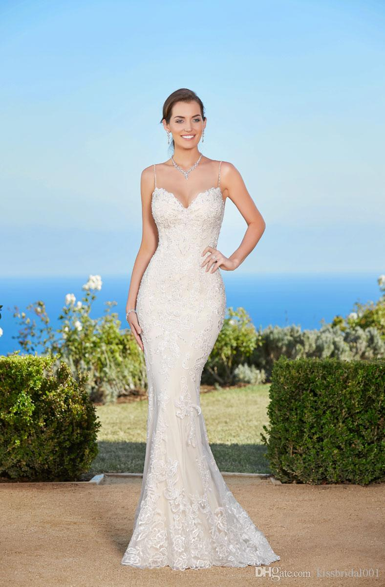 Beaded Straps Wedding Dresses Mermaid Lace Bridal Gowns Sheer See Through Back Beading Applique Formal Dress Gown