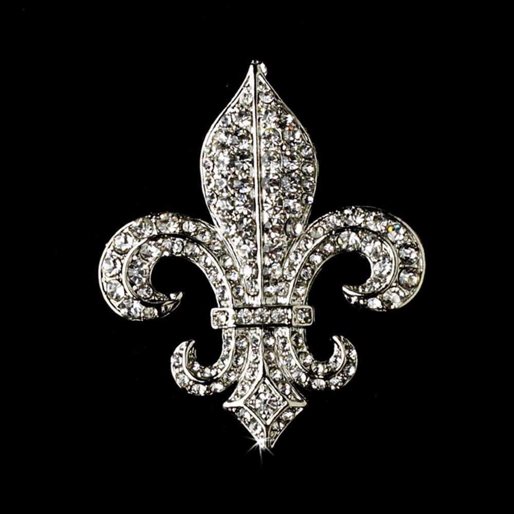"2 ""Vintage Silver Clear Rhinestone Fleur de Lis Broche S"