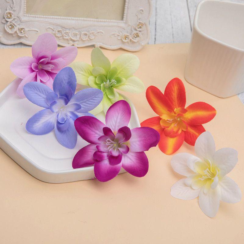 8 cm Seda rosa cabeza orquídea flores artificiales para el hogar accesorios de decoración de boda pompón bricolaje costura de la cereza