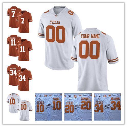 Mens Texas Longhorn Personalizzato College Football Brunt Arancione Bianco Qualsiasi nome Numero Watson McCoy Young 11 Ehlinger Humphrey Sterns Jersey