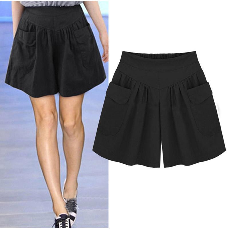2020 Женщины Плюс Размер высокой талией шорты лето Сыпучие Повседневный шорты Мода Skorts Бич Большой размер для женщин