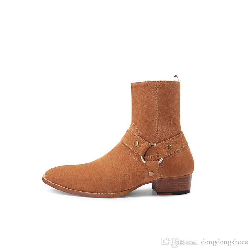 مصمم الأزياء وايت السائق سلاسل الكاحل أحذية أحذية الرجال أشار تو الإبزيم أحذية الرجال جلد بني للرجال اللباس أحذية أحذية رجالية