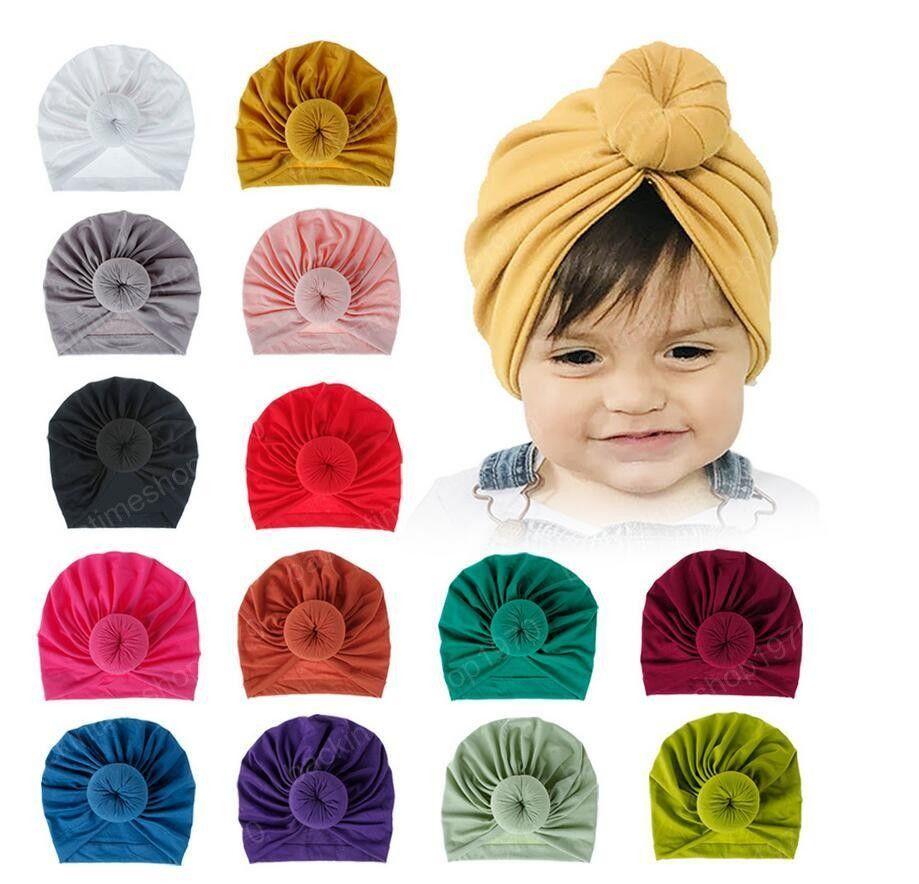Cap Beanie bebê moda bebê Donut Chapéus recém-nascido Elastic Kniting Hat Unisex Bola Knot indiana Turban criança coloridos Chapéus 18 cores