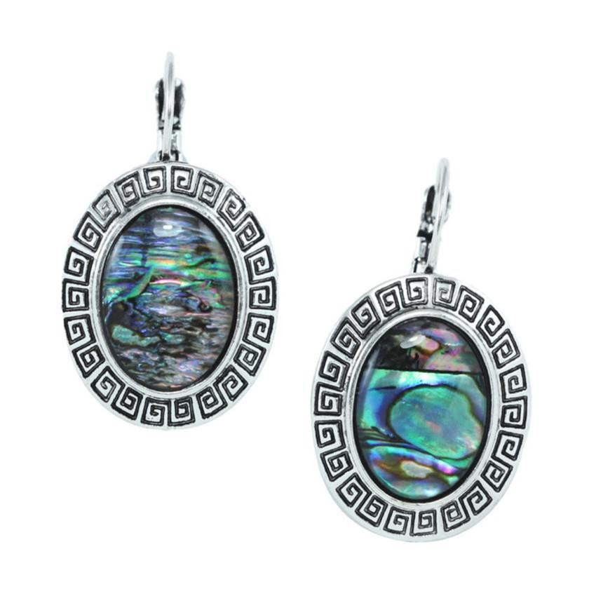 Wholesale 10 Pairs Silver Plated Alloy Many Style Abalone Shell Dangle Earrings for Women Leaf Jewelry