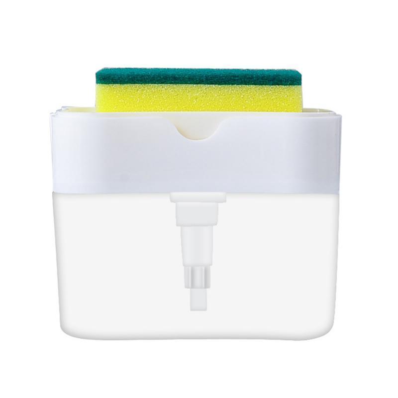 2 in1 dispenser di sapone Spugna lavaggio Soap Box di stoccaggio Cucina Bagno Press dell'erogatore liquido con il lavaggio spugna