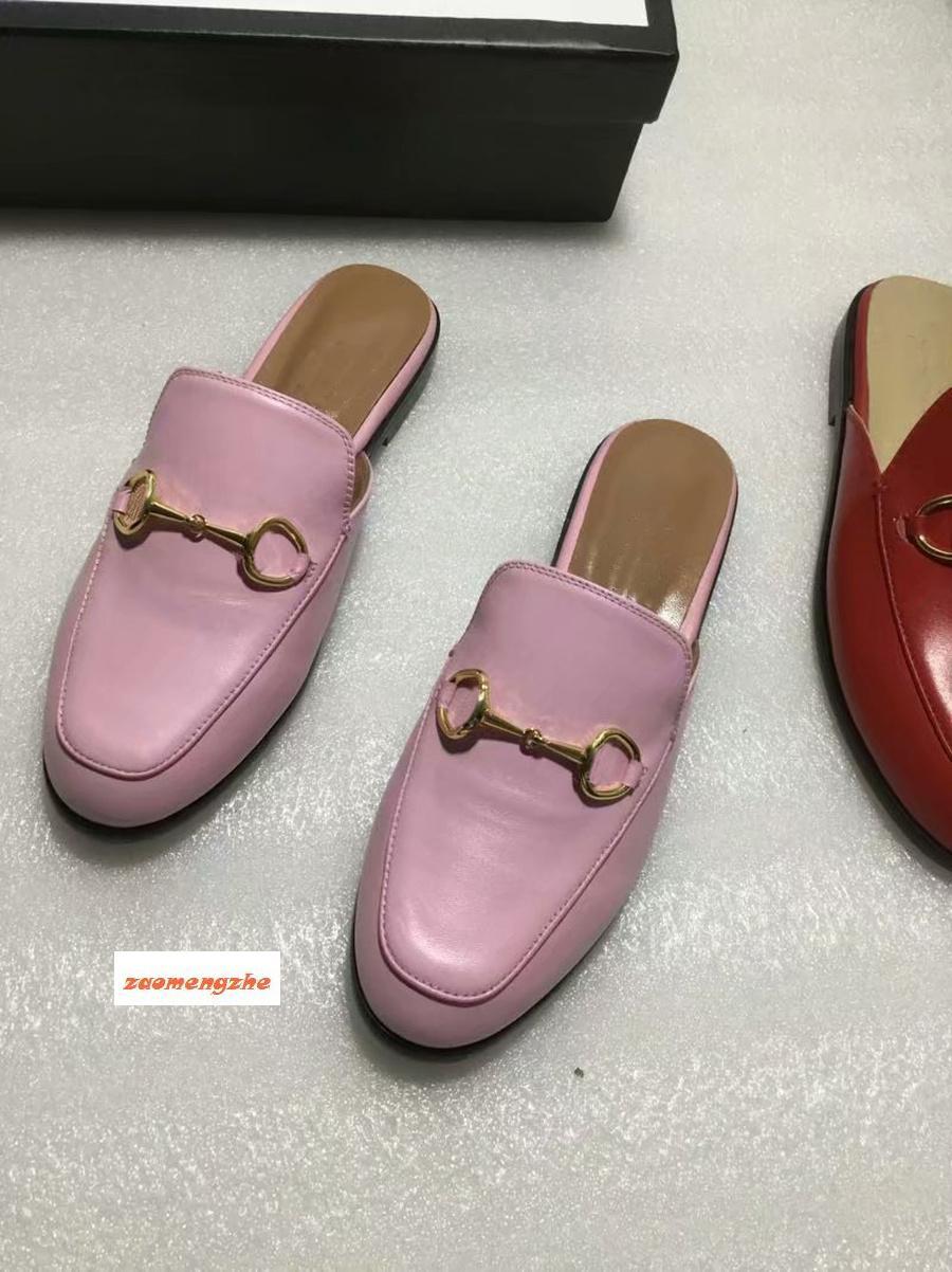 Newluxury 423513 diseñador de Princetown zapatillas resbaladiza clásico hebilla de los deslizadores de los hombres de las mujeres y Metal playa suave slippersTop36-45