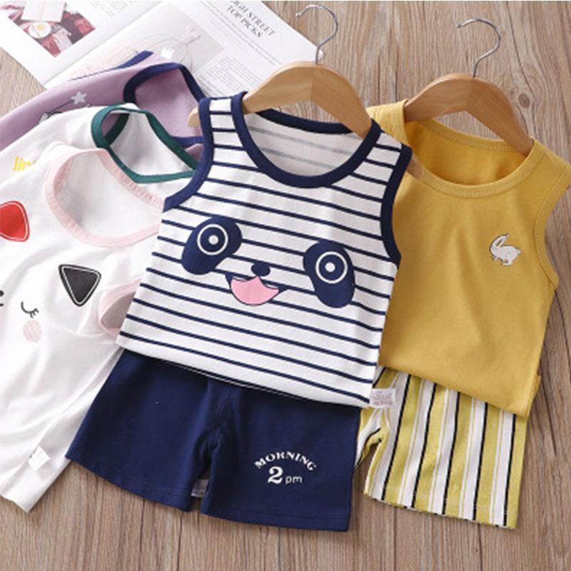 2020 الاطفال بنين بنات نوم مجموعات ملابس الصدرية ملابس نوم الطفل الصيف قصيرة مجموعة أكمام القرد الكرتون القط الأطفال