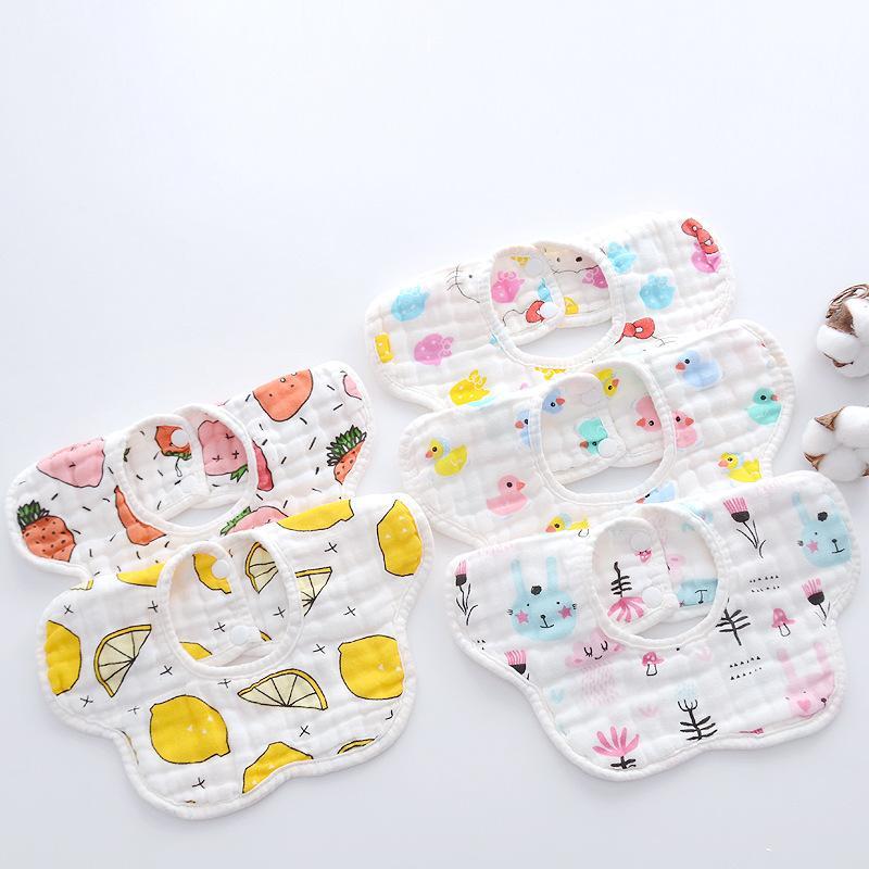 Baberos baberos recién nacido de dibujos animados de 8 capas de 360 grados giratorio pétalo babero bolsa de arroz algodón niño impermeable bufanda saliva alimentación toalla gga2213