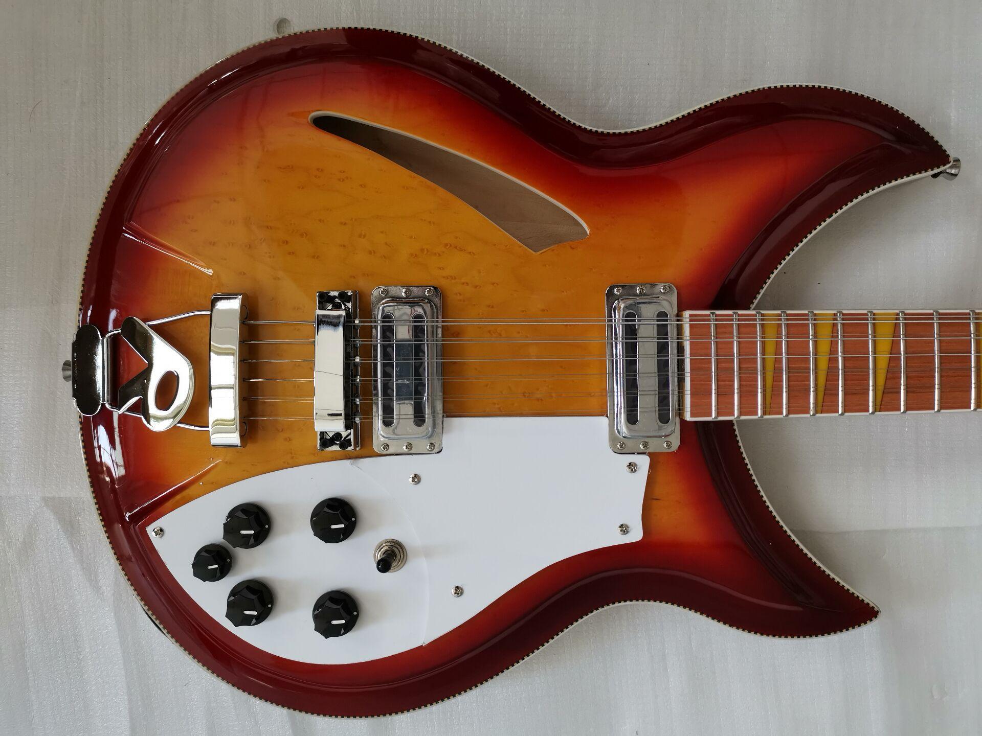 RIC Feu Glo Vintage Sunburst 381 12 cordes Semi Hollow Body Guitare électrique érable moucheté Top Retour, Reliure Checkerboard, Jaune Inlay