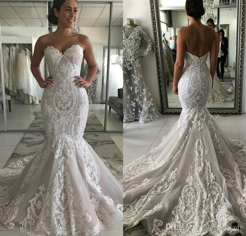 Sweetheart Neckline Lace Mermaid Wedding Dresses 2020 Modest Luxury Applique Sweep Train Trumpet Country Garden Bride Wedding Gown