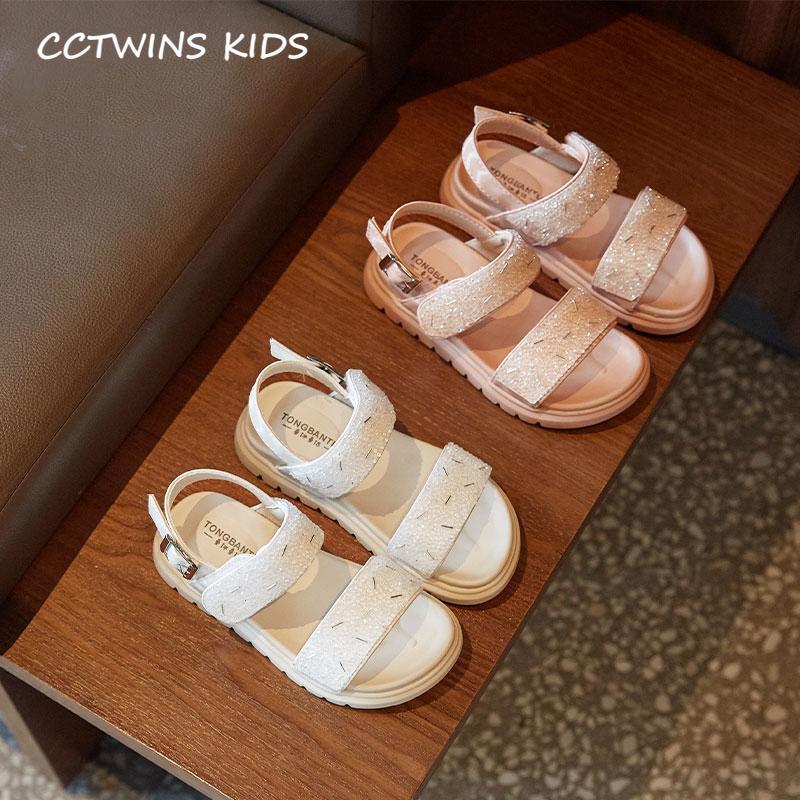 Enfants Sandales Chaussures 2020 Été Mode Bébé Plage Sandales Enfants Filles strass plat blanc doux Chaussures enfants en bas âge BS427 T200427