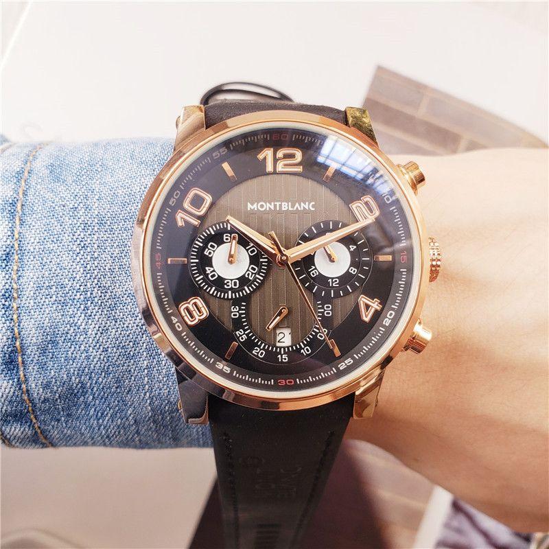 reloj de diseño nuevo de la manera Mont Blan Relogio Masculino para hombre Relojes para hombre relojes de lujo de cuero todos los punteros de trabajo venda de relojes ultrafinos