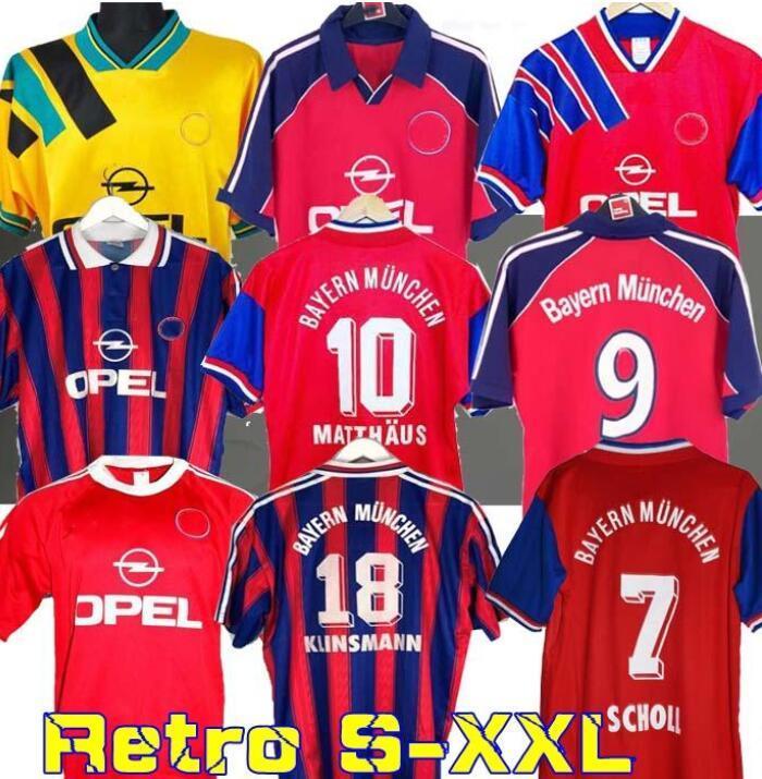 94 95 96 Retro-Trikot 00 01 02 letzte ELBER zickle Effenberg ELBER Pizarro SCHOLL Matthäus Klinsmann Fußballhemden 1995 2001