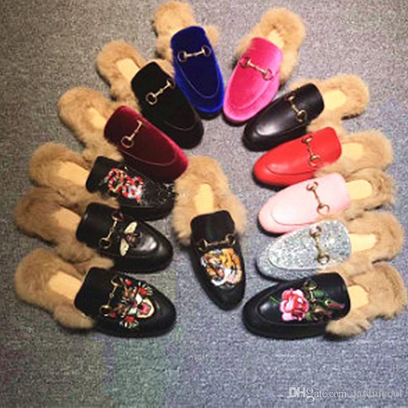 2019 Yeni Fashioh derin ağız Kürk Kadın Sonbahar Kış Geçmeli Düz Kürk Boots Kadınlar Kadın Deri Boots için Tavşan Kürk Ayakkabı Giyim
