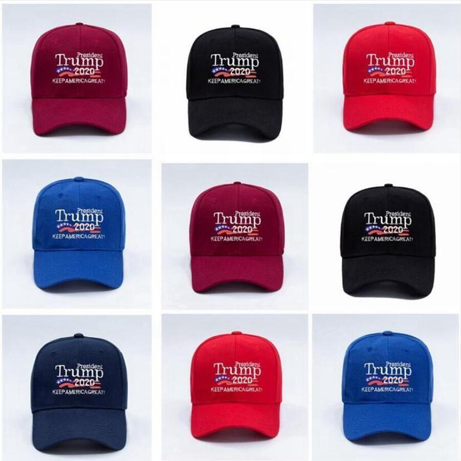 Дональд Трамп 2020 Бейсболка 3D вышивки Письма Keep America Great снова Промытого Спорт Открытых шляп DDA308