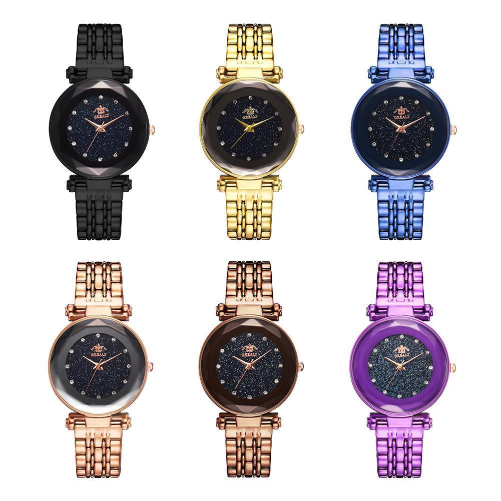 12019 cielo estrellado de diamantes de imitación sin números marcar mujeres banda de plástico reloj de pulsera de cuarzo