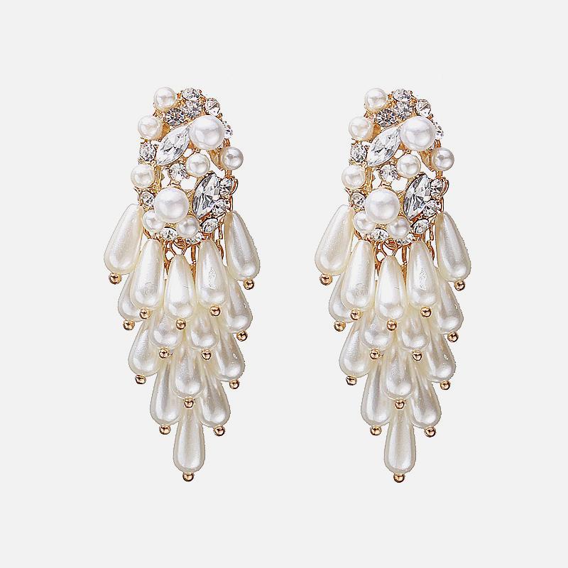 Fashion- nachgemachte Perlen-Reihe Za Mode Ohrringe für Frauen Modisch Metall-Tropfen baumeln Ohrringe Schmuck-Partei Weihnachtsgeschenke