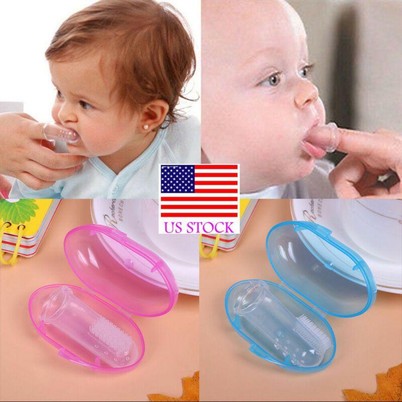 US Kids Детские младенческой Мягкая силиконовая Finger Зубная щетка Зубы резиновые Массажер щетка