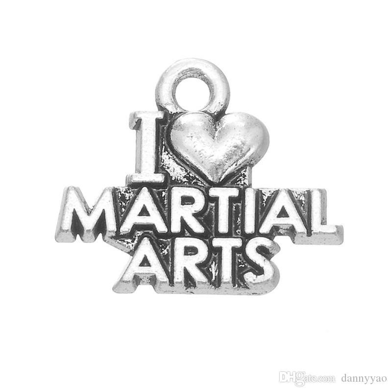 Alloy Letter Charms Tibetan Silver I Love Martial Arts Message Jewelry Charms AAC1163
