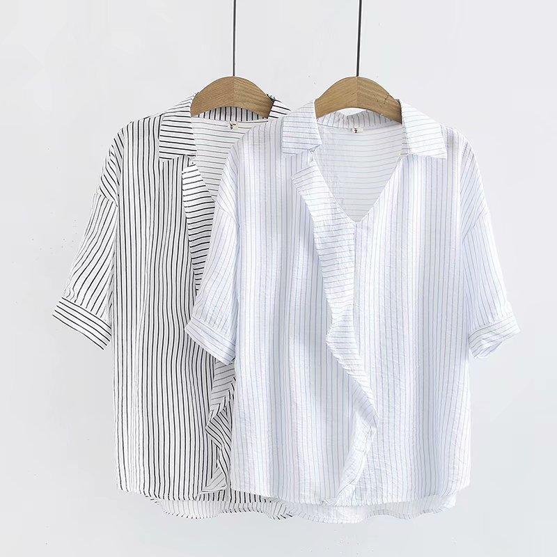 2020 Yeni Moda Marka Oversize Artı boyutu Gömlek Casual V yaka Çizgili Yarım Polyester